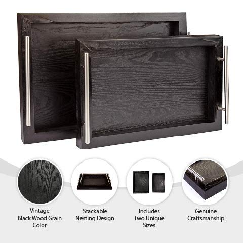 Bison Home Goods Wooden Serving Trays With Stainless Steel Handles 2 Pc Set Black Grain Farmhouse Wood Butler Platters Serve Breakfast Appetizer Coffee Bar And Food Party Or Display Use 0 1
