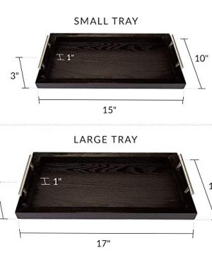Bison Home Goods Wooden Serving Trays With Stainless Steel Handles 2 Pc Set Black Grain Farmhouse Wood Butler Platters Serve Breakfast Appetizer Coffee Bar And Food Party Or Display Use 0 2 300x360