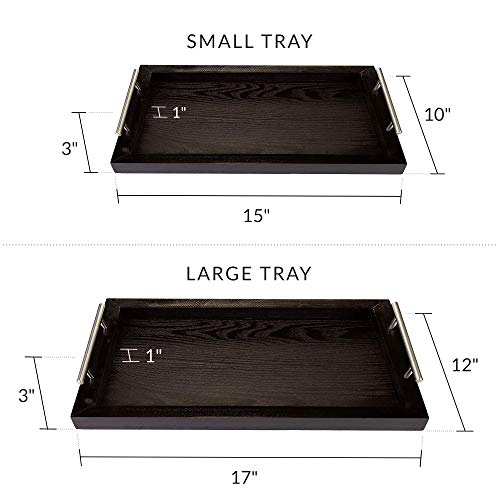 Bison Home Goods Wooden Serving Trays With Stainless Steel Handles 2 Pc Set Black Grain Farmhouse Wood Butler Platters Serve Breakfast Appetizer Coffee Bar And Food Party Or Display Use 0 2