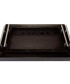 Bison Home Goods Wooden Serving Trays With Stainless Steel Handles 2 Pc Set Black Grain Farmhouse Wood Butler Platters Serve Breakfast Appetizer Coffee Bar And Food Party Or Display Use 0 5 300x360