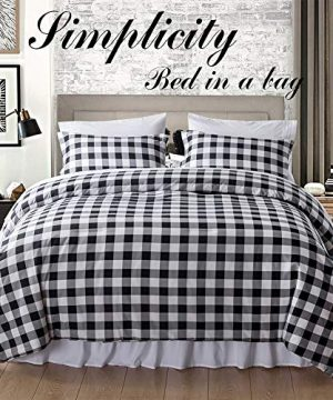 BlackWhite Plaid King Size Comforter Set 8 Pieces Bed In A Bag Farmhouse Buffalo Check Gingham Geometric Printed Bedding SetComforter 4 Pillow Cases Flat Sheet Fitted Sheet Bed Skirt 0 0 300x360