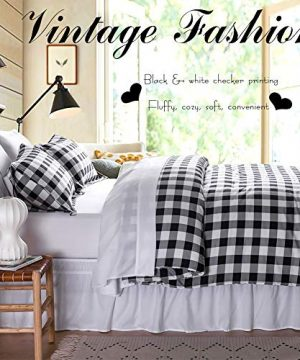 BlackWhite Plaid King Size Comforter Set 8 Pieces Bed In A Bag Farmhouse Buffalo Check Gingham Geometric Printed Bedding SetComforter 4 Pillow Cases Flat Sheet Fitted Sheet Bed Skirt 0 1 300x360
