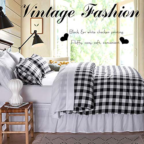 BlackWhite Plaid King Size Comforter Set 8 Pieces Bed In A Bag Farmhouse Buffalo Check Gingham Geometric Printed Bedding SetComforter 4 Pillow Cases Flat Sheet Fitted Sheet Bed Skirt 0 1