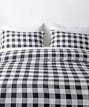 BlackWhite Plaid King Size Comforter Set 8 Pieces Bed In A Bag Farmhouse Buffalo Check Gingham Geometric Printed Bedding SetComforter 4 Pillow Cases Flat Sheet Fitted Sheet Bed Skirt 0 2 300x360