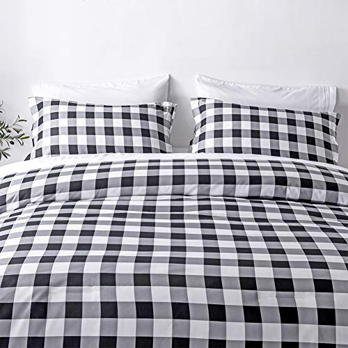 BlackWhite Plaid King Size Comforter Set 8 Pieces Bed In A Bag Farmhouse Buffalo Check Gingham Geometric Printed Bedding SetComforter 4 Pillow Cases Flat Sheet Fitted Sheet Bed Skirt 0 2