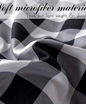 BlackWhite Plaid King Size Comforter Set 8 Pieces Bed In A Bag Farmhouse Buffalo Check Gingham Geometric Printed Bedding SetComforter 4 Pillow Cases Flat Sheet Fitted Sheet Bed Skirt 0 3 300x360
