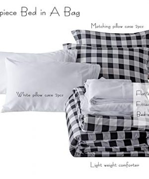 BlackWhite Plaid King Size Comforter Set 8 Pieces Bed In A Bag Farmhouse Buffalo Check Gingham Geometric Printed Bedding SetComforter 4 Pillow Cases Flat Sheet Fitted Sheet Bed Skirt 0 5 300x360