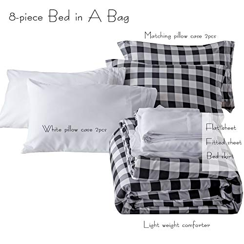 BlackWhite Plaid King Size Comforter Set 8 Pieces Bed In A Bag Farmhouse Buffalo Check Gingham Geometric Printed Bedding SetComforter 4 Pillow Cases Flat Sheet Fitted Sheet Bed Skirt 0 5