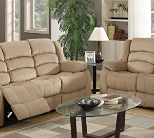 Blackjack Furniture 9824 Winthrop Collection Microfiber Modern Reclining Living Room Sofa Loveseat Beige 0 300x269