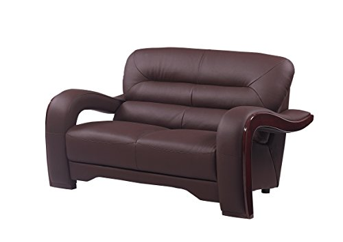 Blackjack Furniture 992 Charles Collection Leather Match Upholstered Modern Living Room Chair Loveseat Sofa Brown 0 0