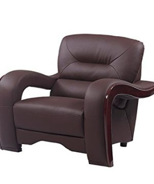 Blackjack Furniture 992 Charles Collection Leather Match Upholstered Modern Living Room Chair Loveseat Sofa Brown 0 2 300x360