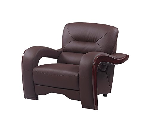 Blackjack Furniture 992 Charles Collection Leather Match Upholstered Modern Living Room Chair Loveseat Sofa Brown 0 2