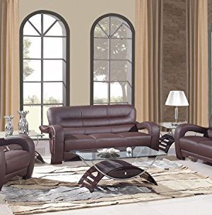 Blackjack Furniture 992 Charles Collection Leather Match Upholstered Modern Living Room Chair Loveseat Sofa Brown 0 300x303