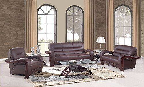 Blackjack Furniture 992 Charles Collection Leather Match Upholstered Modern Living Room Chair Loveseat Sofa Brown 0