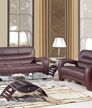 Blackjack Furniture 992 Charles Collection Leather Match Upholstered Modern Living Room Loveseat Sofa Brown 0 300x353