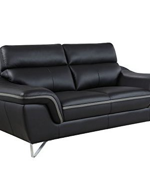 Blackjack Furniture The Bailey Collection Leather Match Upholstered Living Room Sofa And Loveseat Set 2 Piece Black 0 0 300x354
