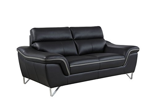 Blackjack Furniture The Bailey Collection Leather Match Upholstered Living Room Sofa And Loveseat Set 2 Piece Black 0 0