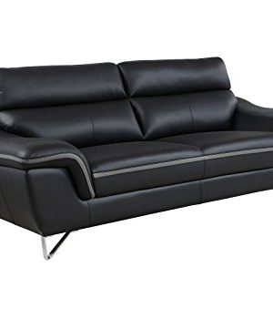 Blackjack Furniture The Bailey Collection Leather Match Upholstered Living Room Sofa And Loveseat Set 2 Piece Black 0 1 300x339