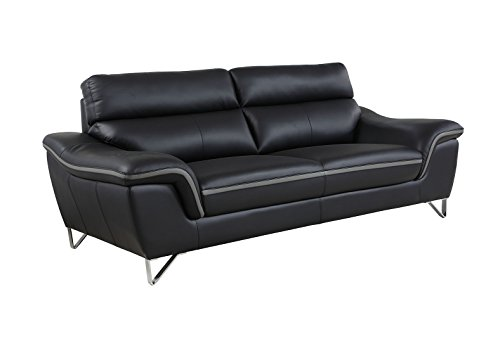 Blackjack Furniture The Bailey Collection Leather Match Upholstered Living Room Sofa And Loveseat Set 2 Piece Black 0 1