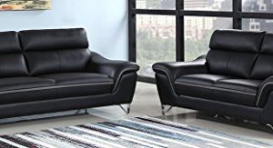 Blackjack Furniture The Bailey Collection Leather Match Upholstered Living Room Sofa And Loveseat Set 2 Piece Black 0 300x163