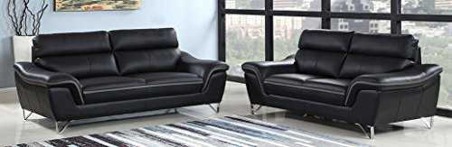 Blackjack Furniture The Bailey Collection Leather Match Upholstered Living Room Sofa And Loveseat Set 2 Piece Black 0