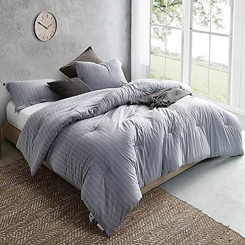 Blue Comforter Set Twin XL 2 Piece 100 Cotton Beautiful Cool Chic Luxurious Farmhouse Bedding Striped Design Oversized 220 TC Baffle Box Plain Weave Soft Plush Cozy Home Decor 0