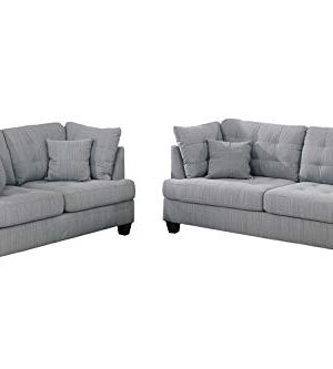 Bobkona 2 Pcs Sofa Loveseat Grey 0 300x333