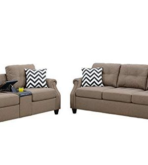 Bobkona 2 Pcs Sofa Loveseat Light Coffee 0 300x333