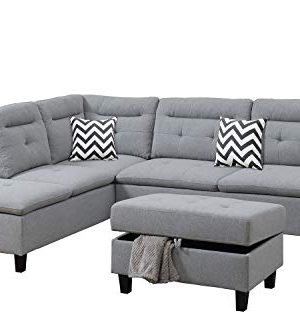 Bobkona Sectional Sofa Set Grey 0 300x333
