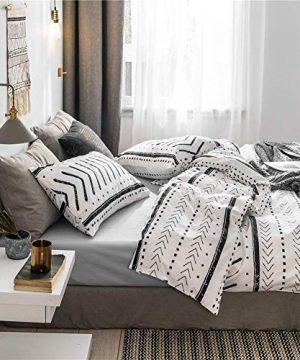 Bohemian Twin Bedding Duvet Cover Set Black Striped Ethnic Boho In White 100 Natural Cotton With 2 Pieces Ultra Soft Breathable Comforter Cover Extremely Durable And Fade Resistant 0 0 300x360