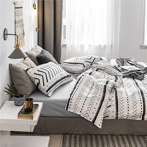 Bohemian Twin Bedding Duvet Cover Set Black Striped Ethnic Boho In White 100 Natural Cotton With 2 Pieces Ultra Soft Breathable Comforter Cover Extremely Durable And Fade Resistant 0 0