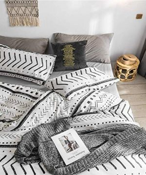 Bohemian Twin Bedding Duvet Cover Set Black Striped Ethnic Boho In White 100 Natural Cotton With 2 Pieces Ultra Soft Breathable Comforter Cover Extremely Durable And Fade Resistant 0 1 300x360