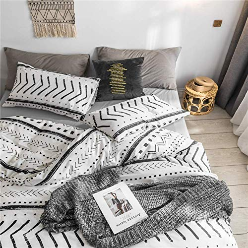 Bohemian Twin Bedding Duvet Cover Set Black Striped Ethnic Boho In White 100 Natural Cotton With 2 Pieces Ultra Soft Breathable Comforter Cover Extremely Durable And Fade Resistant 0 1