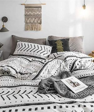 Bohemian Twin Bedding Duvet Cover Set Black Striped Ethnic Boho In White 100 Natural Cotton With 2 Pieces Ultra Soft Breathable Comforter Cover Extremely Durable And Fade Resistant 0 2 300x360