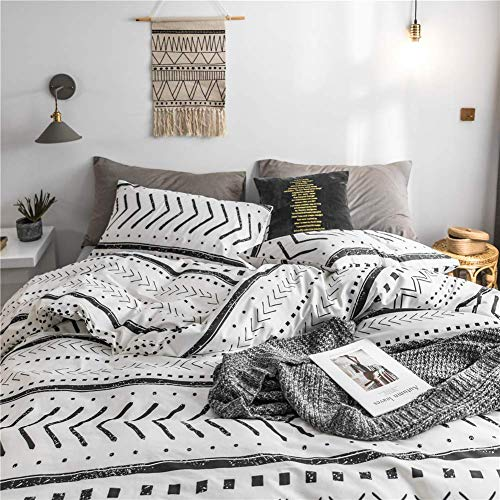 Bohemian Twin Bedding Duvet Cover Set Black Striped Ethnic Boho In White 100 Natural Cotton With 2 Pieces Ultra Soft Breathable Comforter Cover Extremely Durable And Fade Resistant 0 2