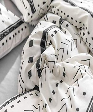 Bohemian Twin Bedding Duvet Cover Set Black Striped Ethnic Boho In White 100 Natural Cotton With 2 Pieces Ultra Soft Breathable Comforter Cover Extremely Durable And Fade Resistant 0 4 300x360