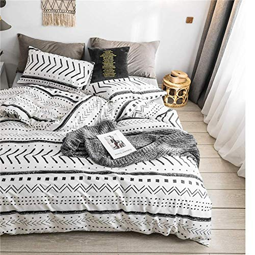 Bohemian Twin Bedding Duvet Cover Set Black Striped Ethnic Boho In White 100 Natural Cotton With 2 Pieces Ultra Soft Breathable Comforter Cover Extremely Durable And Fade Resistant 0