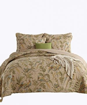 Brandream American Country Comforter Sets Birds Printing Queen Quilt Set Vintage Bedspread Cotton 3Pcs New 0 300x360