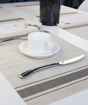 Bright Dream Placemats For Dinner Table Mats Washable Heat Resistand PVC Hard Placemats Set Of 4Gray 0 3 300x360
