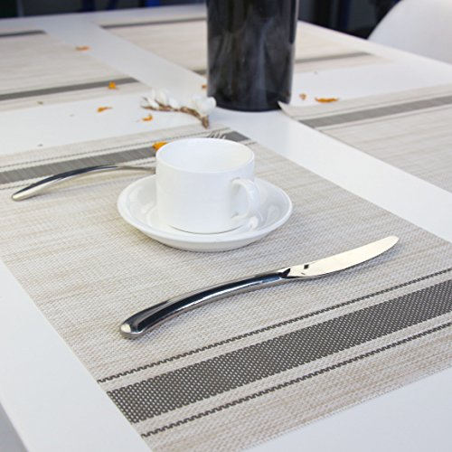 Bright Dream Placemats For Dinner Table Mats Washable Heat Resistand PVC Hard Placemats Set Of 4Gray 0 3