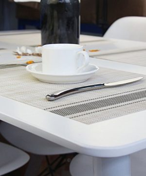 Bright Dream Placemats For Dinner Table Mats Washable Heat Resistand PVC Hard Placemats Set Of 4Gray 0 4 300x360