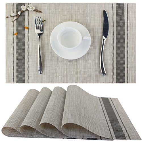 Bright Dream Placemats For Dinner Table Mats Washable Heat Resistand PVC Hard Placemats Set Of 4Gray 0
