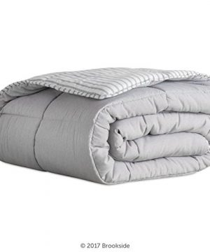 Brookside Striped Chambray Comforter Set Includes 2 Pillow Shams Reversible Down Alternative Hypoallergenic All Season Box Stitched Design Oversized Queen Coastal Gray 0 0 300x360