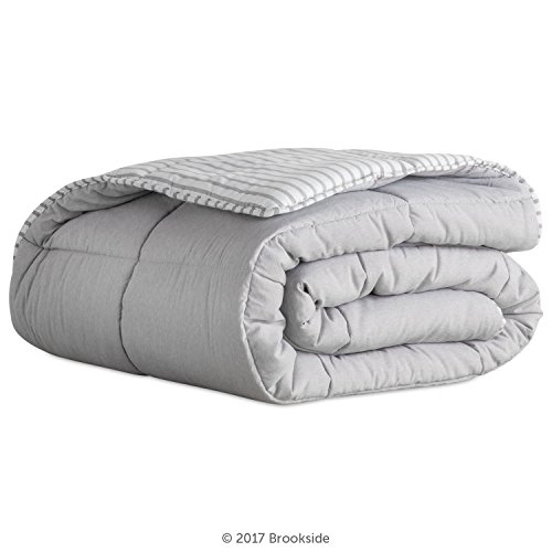 Brookside Striped Chambray Comforter Set Includes 2 Pillow Shams Reversible Down Alternative Hypoallergenic All Season Box Stitched Design Oversized Queen Coastal Gray 0 0