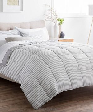 Brookside Striped Chambray Comforter Set Includes 2 Pillow Shams Reversible Down Alternative Hypoallergenic All Season Box Stitched Design Oversized Queen Coastal Gray 0 1 300x360