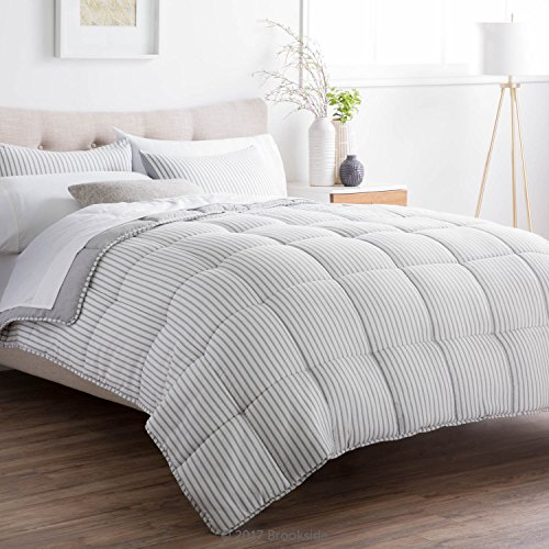 Brookside Striped Chambray Comforter Set Includes 2 Pillow Shams Reversible Down Alternative Hypoallergenic All Season Box Stitched Design Oversized Queen Coastal Gray 0 1