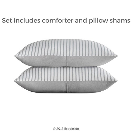 Brookside Striped Chambray Comforter Set Includes 2 Pillow Shams Reversible Down Alternative Hypoallergenic All Season Box Stitched Design Oversized Queen Coastal Gray 0 4