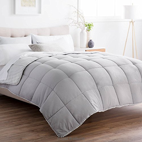 Brookside Striped Chambray Comforter Set Includes 2 Pillow Shams Reversible Down Alternative Hypoallergenic All Season Box Stitched Design Oversized Queen Coastal Gray 0