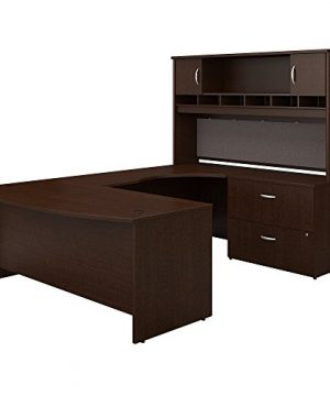 Bush Business Furniture Series C 72W Right Handed Bow Front U Shaped Desk With Hutch And Storage Mocha Cherry 0 300x360