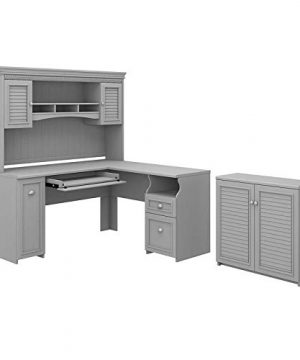 Bush Fairview L Desk With Hutch Storage Cabinet In Cape Cod Gray Engineered Wood 0 300x360